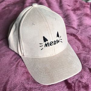 Accessories - Faux Suede Meow Embroidered Hat